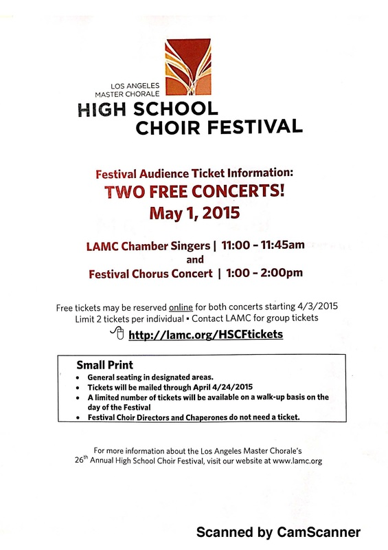 LA Master Chorale High School Choral Festival Ticket Info - SGA Music